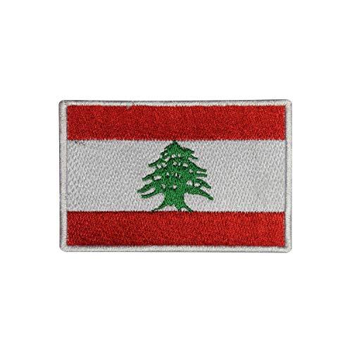 Aufnäher / Bügelbild mit Libanon-Nationalflagge, bestickt, für Kleidung