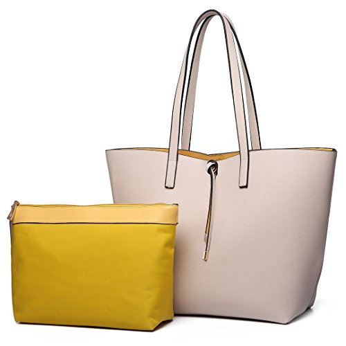 Miss Lulu Faschionable Tote Bag Shopper Schultertasche Umhängetasche PU-Leder Praktisch (Beige)