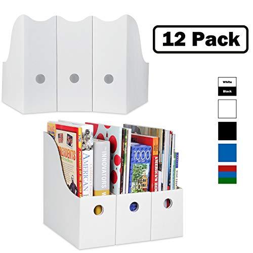 Dunwell Magazine File Holder (Set of 12, White), Sturdy Cardboard Magazine Holders, Folder Holder, Magazine Storage Box, Book Bins, Desk File Holder Organizers and Storage