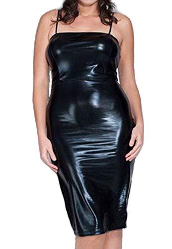 845 - Plus Size Shoulder Strap PVC Faux Stretchy Leather Club Dress Black White (3X, Black)