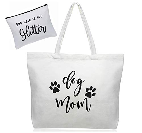 Dog Mom Cotton Canvas Tote Purse Makeup Bag Pet Lover Owner Christmas Birthday Gifts for Women