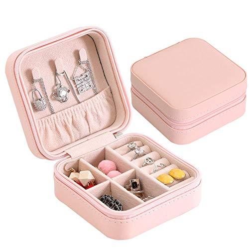 Portable Jewelry Case Boxes,Jewelry Organizer Display Travel Button Leather Storage with Zipper ,orange
