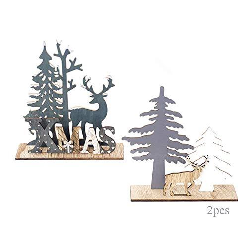 Anyingkai 2pcs Holz Weihnachtsbaum Schneeflocke Elch Dekoration,Weihnachtsschmuck Holz,Weihnachtsholzschmuck,Deko Hirsche aus Holz,Weihnachten Deko