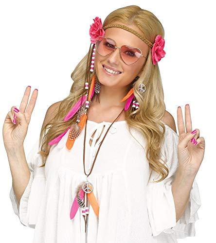 shoperama Juego de 5 piezas de estilo hippie de los años 60, con forma de corazón, gafas para el pelo, pendientes, cadena de perlas, plumas, flores y símbolo de la paz.