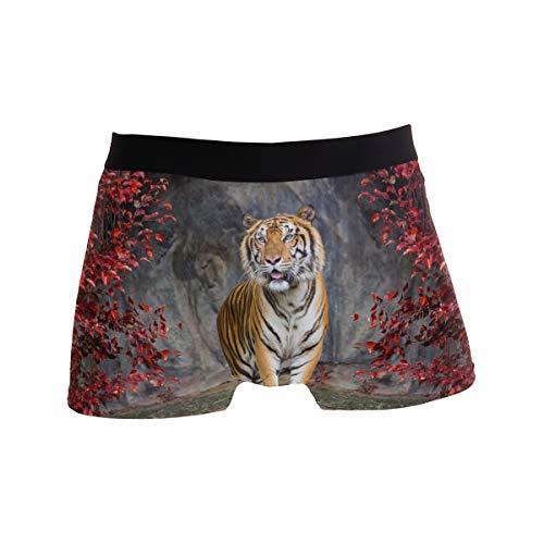 ALARGE Herren Boxershorts, afrikanische Tiere, Tiger, Kurze Unterwäsche, weiche Stretch-Unterhose für Männer und Jungen, S-XL Gr. M, Multi