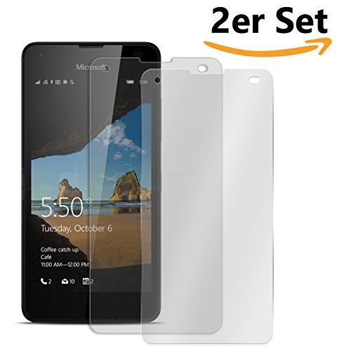 Conie SE11979 2er Set 9H Panzerfolie Kompatibel mit Microsoft Lumia 550, 2X Panzerglas Schutz Folie Anti-Öl, Anti-Finger Print Gorilla Glas für Lumia 550 Handyfolie (2 Stück) 2X Glasfolie