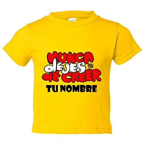 Camiseta niño Atlético de Madrid letras nunca dejes de creer personalizable con nombre - Amarillo, 7-8 años