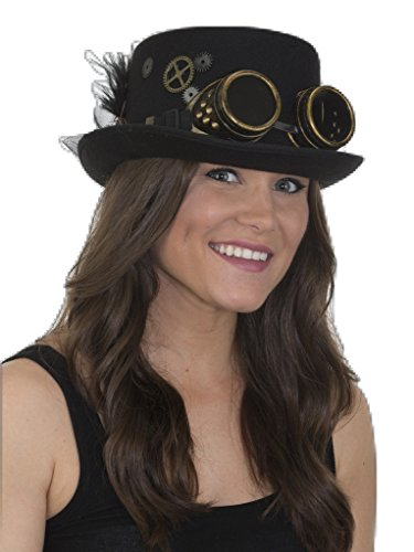 Jacobson Hat Company Women's Ladies Steampunk Top Hat, Black, Adjustable