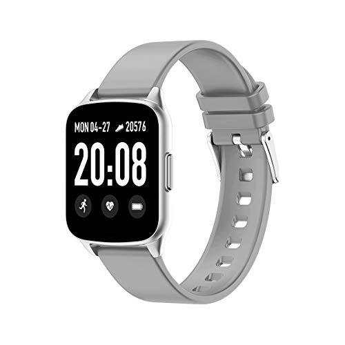 evermotor - Reloj inteligente, pulsera de seguimiento de actividad que registra la frecuencia cardíaca, la presión arterial, la actividad y el sueño, y avisa de llamadas y mensajes, gris