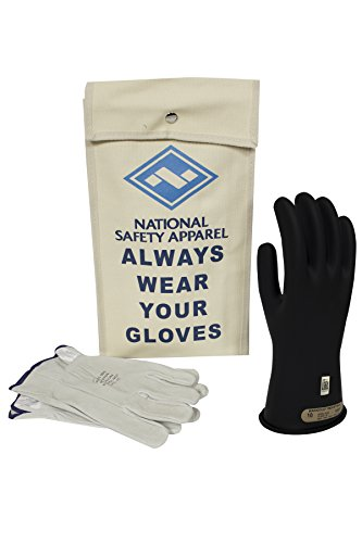 NATIONAL SAFETY APPAREL KITGC00B09 Apparel Class 0 Black Rubber Voltage Insulating Glove Kit with Leather Protectors, Max. Use Voltage 500V AC/ 750V DC (KITGC0009)