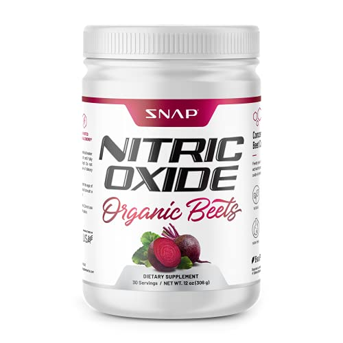 Beet Root Powder Organic - Nitric Oxide Beets by Snap Supplements - Supports Lower Blood Pressure and Circulation Superfood, Muscle & Heart Health - BCAAs. L Arginine, L Citrulline 12oz