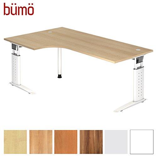 bümö® Schreibtisch höhenverstellbar 68-86 cm | Bürotisch mit Gestell in weiß | Büroschreibtisch | Tisch für's Büro & PC in Top Qualität - Eckschreibtisch: 200 x 120 cm, Eiche