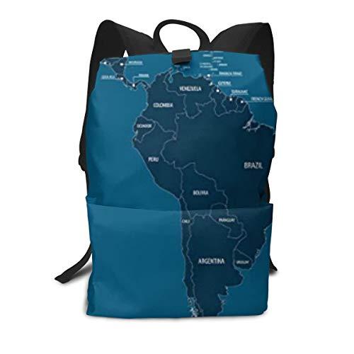 Mittel- und Südamerika-Karte Rucksäcke, süße Schultasche für Teenager Mädchen Jungen Leichte Büchertaschen