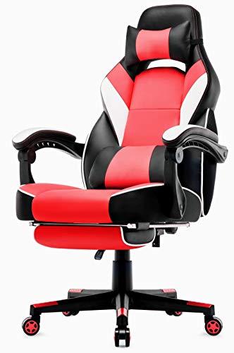 IntimaTe WM Heart Sedia Gaming con poggiapiedi a Scomparsa, Sedia da Gioco ergonomica, Sedia Girevole in Pelle Premium, con i Cuscini Testa e Lombare, la Sedia con la poggia Piedi, Rosso
