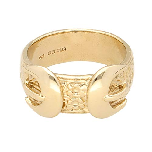 Jollys Jewellers Anillo de oro amarillo de 9 quilates con doble hebilla (tamaño W 1/2), 12 mm de ancho