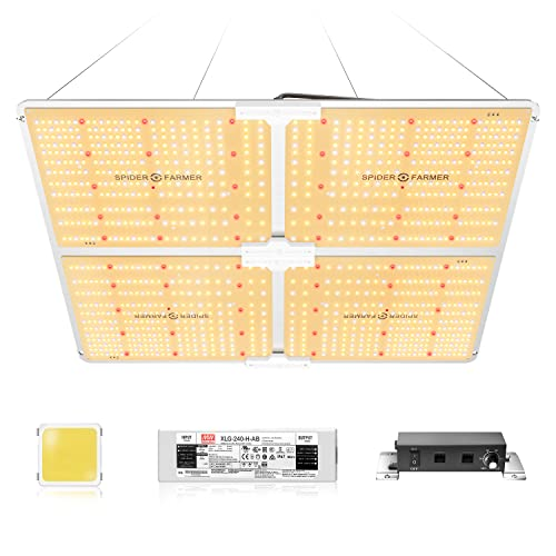SPIDER FARMER SF-4000 LED Grow Light 5'x5' Coverage with Samsung LM301B Diodes & MeanWell Driver Dimmable 450W Commercial Grow Lamps for Indoor Plants Full Spectrum Veg and Bloom 2.7 umol/J