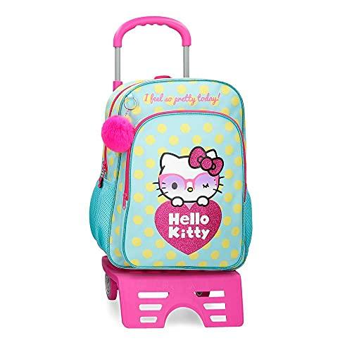 Hello Kitty Pretty Glasses Mochila Escolar con Carro Verde 30x40x13 cms Poliéster 15,6L