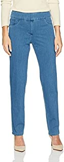 Ruby Rd. Women's Petite Pull-on Knitted Indigo Twill Pant