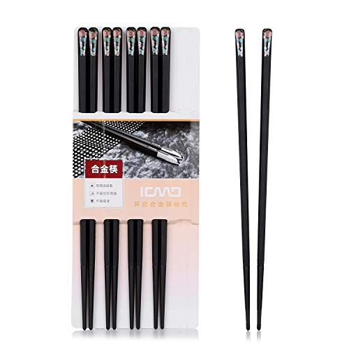 Hongyantech Japanische EssstäBchen 5 Paar Alloy Chopsticks Wiederverwendbare EssstäBchen Waschbar FüR GeschirrspüLer 24.3 cm-LVHJ