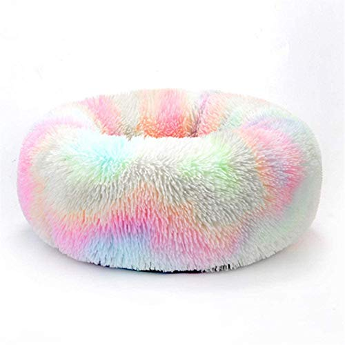 HCMNME Deluxe Soft Cat Bed, Cat Bedding Plush Donut Pet Bed Dog Cat Round Warm Cuddler Kennel Soft Puppy Sofa Cat Cushion Bed Sleeping Bag,for Cats and Dogs