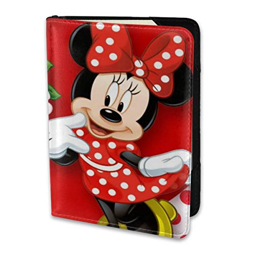 Passport Holder Cover Case Mickey Mouse Minnie Love Couple Heart Leather Travel Wallet For Women And Men