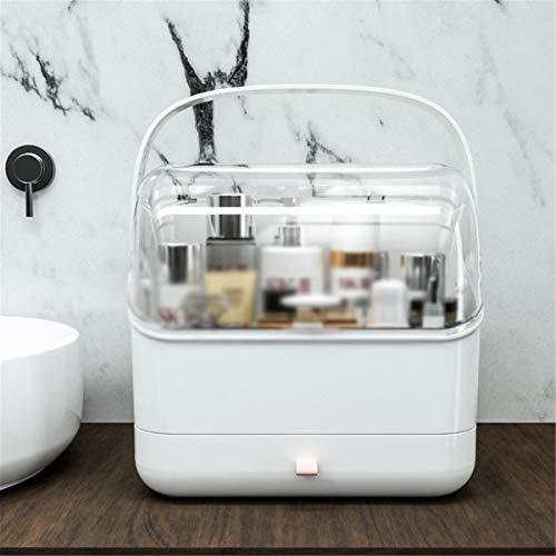 Nvshiyk Maquillage des boîtes de Rangement Boîte de Rangement cosmétique de cosmétique Transparent à Deux Couches de Stockage pour Meuble-lavabo et comptoir (Couleur : Blanc, Size : 28x18x30cm)