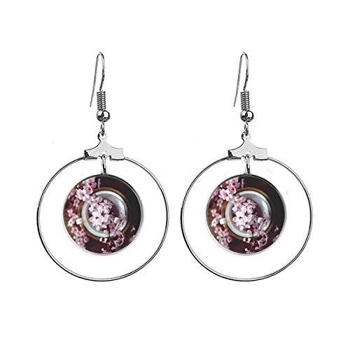 Roze Plum Blossom Vaas Art Deco Gift Mode Oorbellen Dangle Hoop Sieraden Drop Cirkel