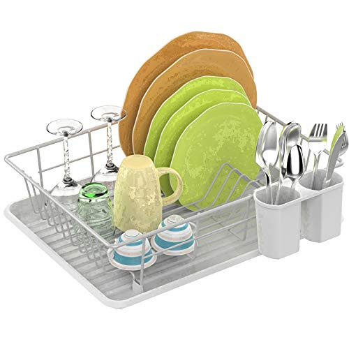 Dish Drying Rack Fcolor Dish Rack with Drain Board Utensil Holder Anti Rust Dish Drainer for Kitchen Counter Top Dish Rack Wire Holder White 164 x 12 x 43 inch