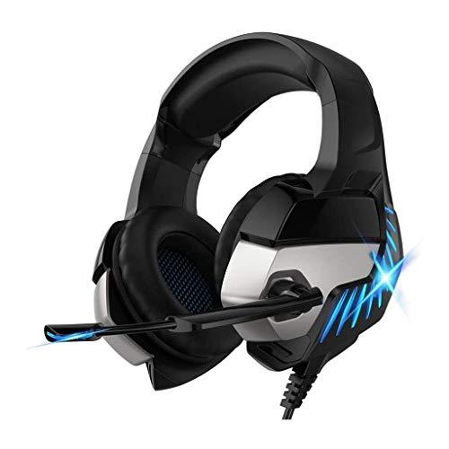 UNU_YAN Casque de Jeu for PC Xbox PS4, Casque avec Microphone, stéréo Surround Sound Headset for PC Portable Mac, avec de Fortes lumières LED Basse (Color : Blue)