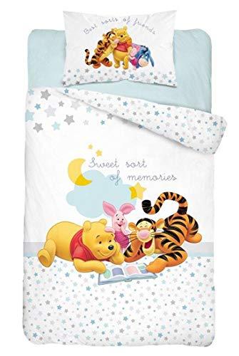 Juego de cama Winnie para bebé, 2 piezas, 100% algodón, funda nórdica de 100 x 135 cm + funda de almohada de 40 x 60 cm, diseño de cerrojo y cerdo