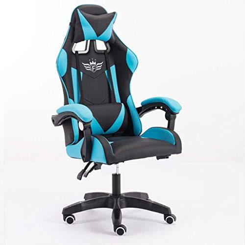 Gaming Chair Ergonomischer Rennstil Recliner mit Massage-Lordosenstütze, Büro-Sessel für Computer PU-Leder E-Sports Gamer-Stühle mit einziehbarer Fußstütze, ohne Fußstütze ZJ666