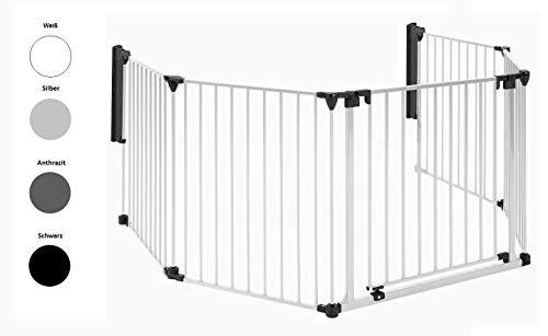 Original IMPAG® Kaminschutzgitter XXL | 190-430 cm | Extrabreite Automatik-Tür | 90° Feststell-Funktion | Einhandbedienung | (6-tlg. Weiß)