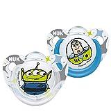 NUK Disney Pixar Toy Story Trendline Silikon-Schnuller, 0-6 Monate, 2 Stück, Buzz / Alien