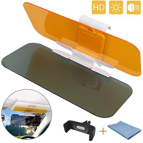 HQzon Car Sun Visor, 2 in 1 Day Night Driving Anti-Glare Car Extender Sun Shield, Night Vision Anti-Dazzle Windshield Driving Visor 2020 Upgrade (Universal)