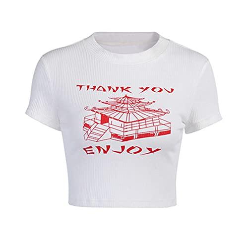 ChengBeautiful Top Corto De Mujer Mujeres LADRES Corte Corte Mango Top Top Tape T-Shirt STRENSE Fuera DE Verano (Color : White, Size : M)