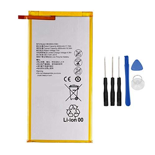 Backupower Batería de repuesto HB3080G1EBW, compatible con Huawei Mediapad M1 8.0 M2 8.0 T1 8.0, MediaPad M1 M2 8.0 M2-801L, 4650 mAh