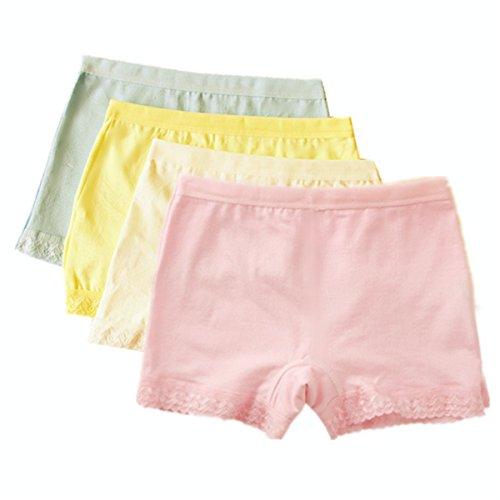 FAIRYRAIN FAIRYRAIN 4 Packung Baby Kleinkind Mädchen Candy Color Pantys Hipster Shorts Spitze Baumwollunterhosen Unterwäsche 2-4 Jahre