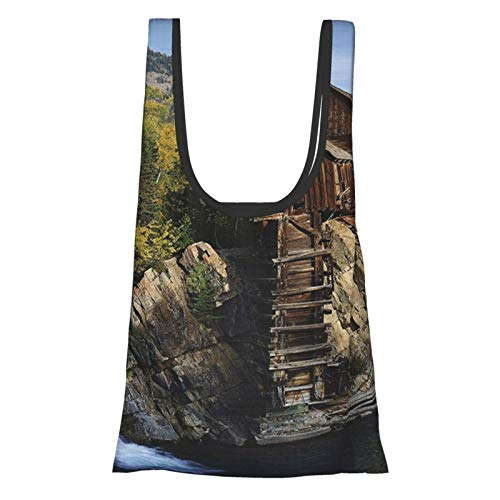 Lake House Decor Collection Secluded Wooden Cabin In The Woods River Waterfall Forest Nature Mill Mountain Pine Trees Muli Reusable Fold Eco-Friendly Shopping Bags