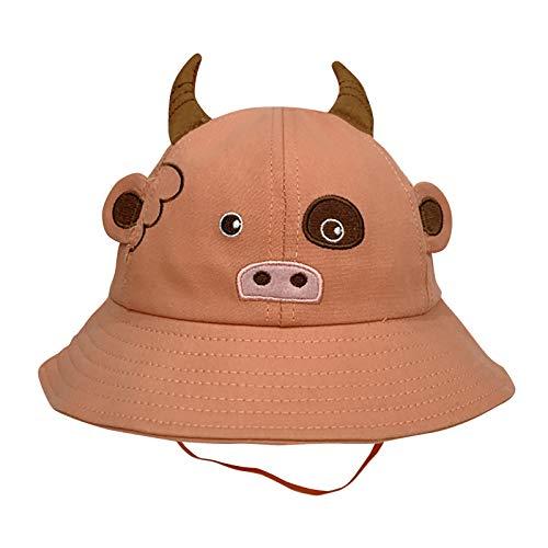 Kuksoa Sombrero De Pescador para NiñOs NiñOs NiñAs Primavera Verano Sombrero De AlgodóN para El Sol PatróN De Dibujos Animados Sombrero De Cubo Sombrero De Sol NiñOs Playa Viaje con VB(Naranja)