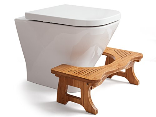 "A&A Wood Step Toilet Stool - Bamboo Toilet Chair - Squatting Bathroom Stool - 7"" Luxury Anti-slip Footrest for Adults, Kids & Toddlers"