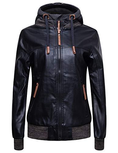 blackmogoo Winter Faux Leather Moto Jackets For Women Windbreaker And Waterproof Hooded Bike Jacket Coats