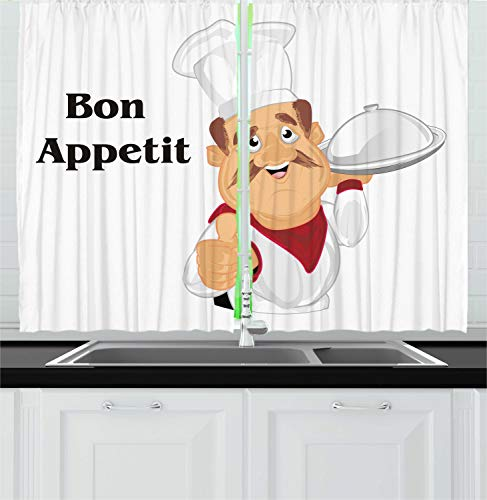 """Lunarable Chef Kitchen Curtains, Simple Cartoon Smiling Cook with French Message of Bon Appetit in Cartoon Style, Window Drapes 2 Panel Set for Kitchen Cafe Decor, 55"""" X 39"""", Beige White"""