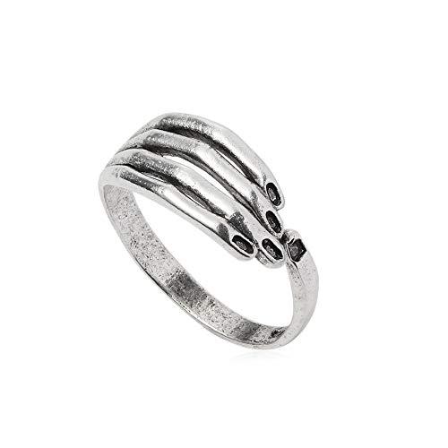 Anillo de mano para mujer y hombre, diseño gótico, chapado en plata