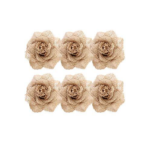 6 piezas de lino DIY flor artesanía decoración de boda vintage hecho a mano matrimonio yute natural arpillera cinta de arpillera accesorios de decoración rústica de fiesta de cáñamo duradero y útil