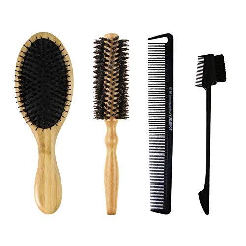 SNOWINSPRING 4 PièCes SéRies Peigne à Cheveux Bambou Airbag Massage Peigne Rouleau en Bois Peigne Sourcils Peigne Brosse Anti-Statique Brosse à Cheveux