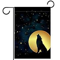 ホームガーデンフラッグ両面春夏庭の屋外装飾 28x40in,オオカミのシルエット異教のトーテム