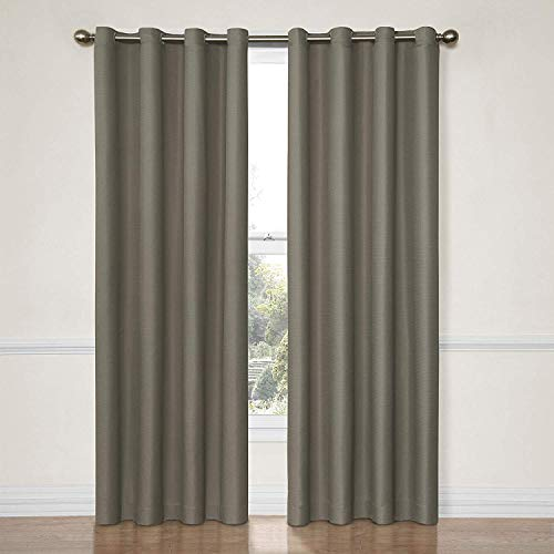 Eclipse Dane Thermal Insulated Single Panel Grommet Top Darkening Curtains for Living Room, 52' x 84', Smoke