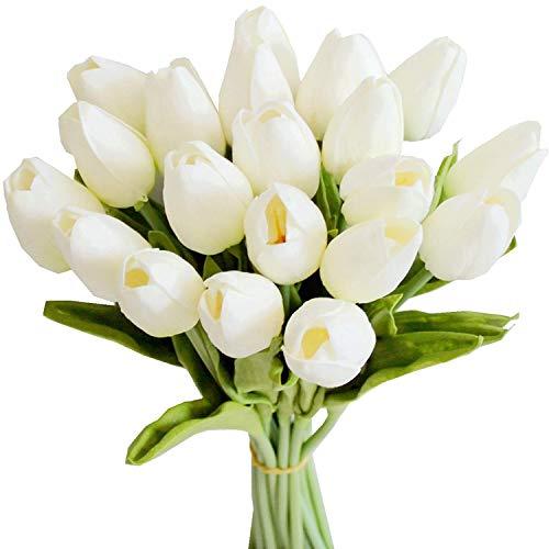 Bigpea 20 Piezas Blancas 13.8 Pulgadas Flores de Tulipanes Artificiales para la DecoracióN del Partido, DecoracióN del Hogar de la Boda