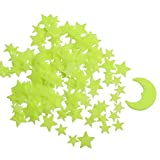 Glow in The Dark Stars - Glow Stars Stickers for Ceiling,Self Adhesive 3D Glowing Stars and Moon for Starry Sky,Wall Decals for Kids Rooms,Wall Stickers for Bedroom(200 Stars,1 Moon)