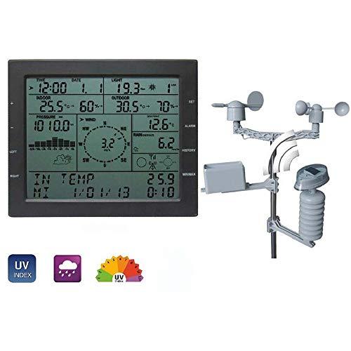 ZHFENG Professionelle Wetterstation Windgeschwindigkeit Windrichtung Regenmesser Druck Temperatur Luftfeuchtigkeit UV-Test Messgeräte